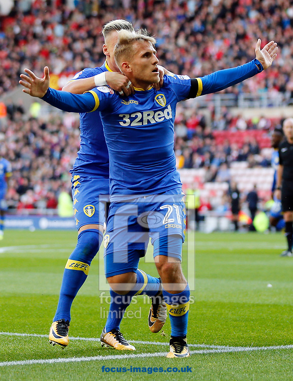 Samu Saiz (21) of Leeds United celebrates scoring the opening goal during the Sky Bet Championship match at the Stadium Of Light, Sunderland<br /> Picture by Simon Moore/Focus Images Ltd 07807 671782<br /> 19/08/2017