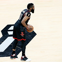 01 May 2017: Houston Rockets guard James Harden (13) looks to pass the ball during the Houston Rockets 126-99 victory over the San Antonio Spurs, in game 1 of the Western Conference Semi Finals, at the AT&T Center, San Antonio, Texas, USA.