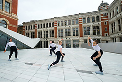 © Licensed to London News Pictures. 28/06/2017. London, UK. Julie Cunningham & Company dancers perform in The Sackler Courtyard as part of the new V & A Exhibition Road Quarter. Photo credit: Ray Tang/LNP