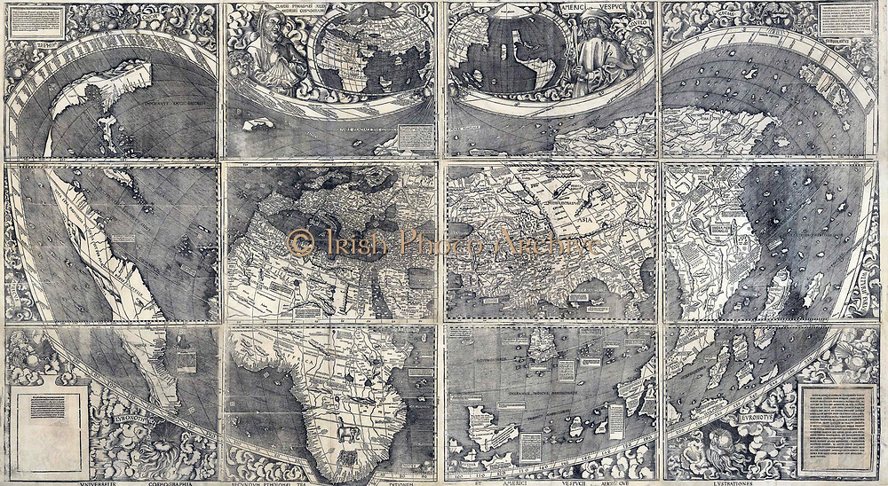 Martin Waldesmüller was the first cartographer to identify America as a separate continent, and named it after Amerigo Vespucci. Published in 1507, his twelve-panel wall map, the Universalis Cosmographia, was also one of the first European maps to show latitude and longitude. Map by Martin Waldseemüller
