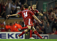 Photo: Paul Thomas.<br /> Liverpool v Newcastle United. The Barclays Premiership. 20/09/2006.<br /> <br /> Xabi Alonso (14) and Fabio Aurelio celebrate Alonso's goal.