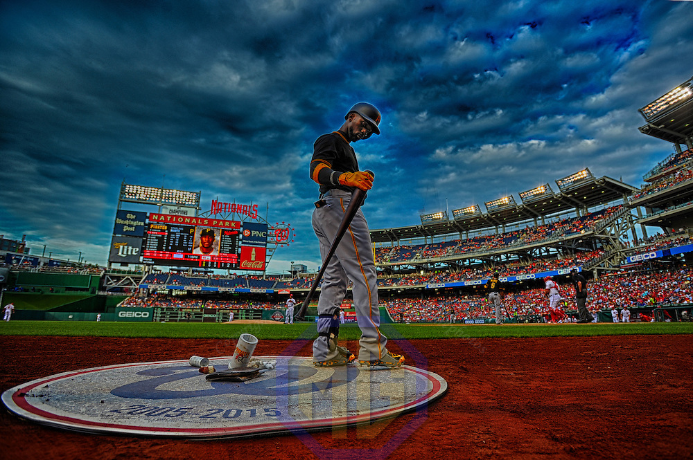 19 June 2015:  Pittsburgh Pirates center fielder Andrew McCutchen (22) stands in the on deck circle at Nationals Park in Washington, D.C. in a 14-frame composite High Dynamic Range (HDR) image.  The Washington Nationals defeated the Pittsburgh Pirates, 4-1. (Photograph by Mark Goldman - Goldminephotos)