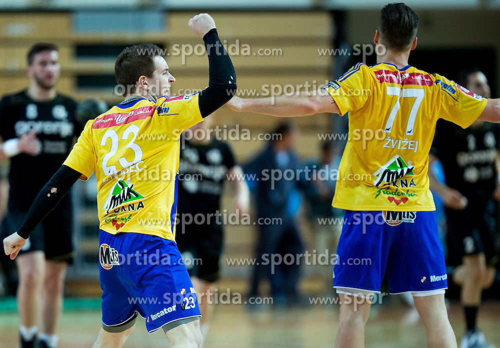 Miha Zarabec of RK Celje PL and Luka Zvizej of RK Celje PL during handball match between RK Celje Pivovarna Lasko and RK Gorenje Velenje in Final of Slovenian Handball Cup 2015, on March 29, 2015 in Arena Bonifika, Koper, Slovenia. RK Celje Pivovarna Lasko became Slovenian Cup Champion 2015. Photo by Vid Ponikvar / Sportida