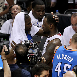 Jun 21, 2012; Miami, FL, USA; Miami Heat small forward LeBron James (6) greets Oklahoma City Thunder small forward Kevin Durant (35) after winning the 2012 NBA championship at the American Airlines Arena. Miami won 121-106. Mandatory Credit: Derick E. Hingle-US PRESSWIRE
