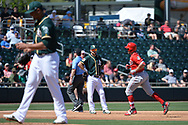 MESA, AZ - MARCH 09:  Adam Duvall #23 of the Cincinnati Reds runs the bases after hitting a solo home run off Sean Manaea #55 of the Oakland Athletics in the second inning in the spring training game at HoHoKam Stadium on March 9, 2017 in Mesa, Arizona.  (Photo by Jennifer Stewart/Getty Images)