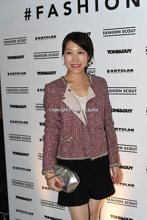 Zoe Zhu attend Fashion Scout - SS19 - London Fashion Week - Day 2, London, UK. 15 September 2018.