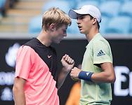 RUDOLF MOLLEKER/HENRI SQUIRE (GER), Junioren Doppel Finale<br /> <br /> Tennis - Australian Open 2018 - Grand Slam / ATP / WTA -  Melbourne  Park - Melbourne - Victoria - Australia  - 26 January 2018.