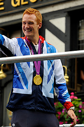 Team GB long jump Olympic gold medallist Greg Rutherford during a parade in central London celebrating Team GB athletes who competed in the London 2012 Olympic and Paralympic Games, September 10th 2012. Photo by Chris Joseph/i-Images.
