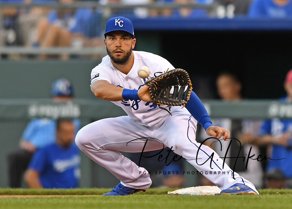 Kansas City Royals first basemen Eric Hosmer (35) reaches for the ball at first base, during a game against the Boston Red Sox at Kauffman Stadium.