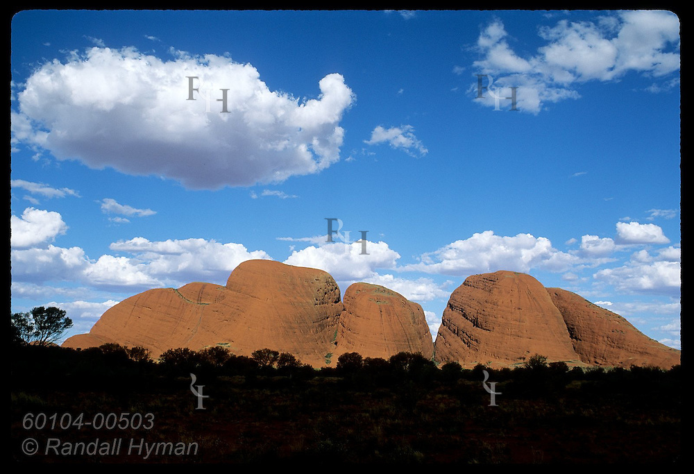 The Olgas, cluster of dome mounts once one huge mass of rock, loom on horizon; Uluru Natl Park Australia