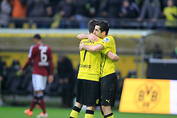 "01.03.2014, Signal Iduna Park, Dortmund, GER, 1. FBL, Borussia Dortmund vs 1. FC Nuernberg, 23. Runde, im Bild Jonas Hofmann (Borussia Dortmund #7), Henrikh ""Micki"" Mkhihtaryan (Borussia Dortmund #10) beim Torjubel nach dem Treffer zum 3:0, Emotion, Freude, Glueck, Positiv // during the German Bundesliga 23th round match between Borussia Dortmund and 1. FC Nuernberg at the Signal Iduna Park in Dortmund, Germany on 2014/03/01. EXPA Pictures © 2014, PhotoCredit: EXPA/ Eibner-Pressefoto/ Schueler<br /> <br /> *****ATTENTION - OUT of GER*****"