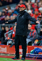 LIVERPOOL, ENGLAND - Saturday, January 28, 2017: Liverpool's manager Jürgen Klopp reacts during the FA Cup 4th Round match against Wolverhampton Wanderers at Anfield. (Pic by David Rawcliffe/Propaganda)