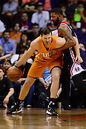 Apr 1, 2016; Phoenix, AZ, USA; Phoenix Suns forward Mirza Teletovic (35) handles the ball against Washington Wizards forward Markieff Morris (5) in the first half at Talking Stick Resort Arena. Mandatory Credit: Jennifer Stewart-USA TODAY Sports
