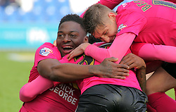 Shaquile Coulthirst (centre) of Peterborough United celebrates scoring his sides third goal with team-mates Ricardo Santos (left) and Harry Beautyman (right)- Mandatory by-line: Joe Dent/JMP - 16/04/2016 - FOOTBALL - Weston Homes Community Stadium - Colchester, England - Colchester United v Peterborough United - Sky Bet League One