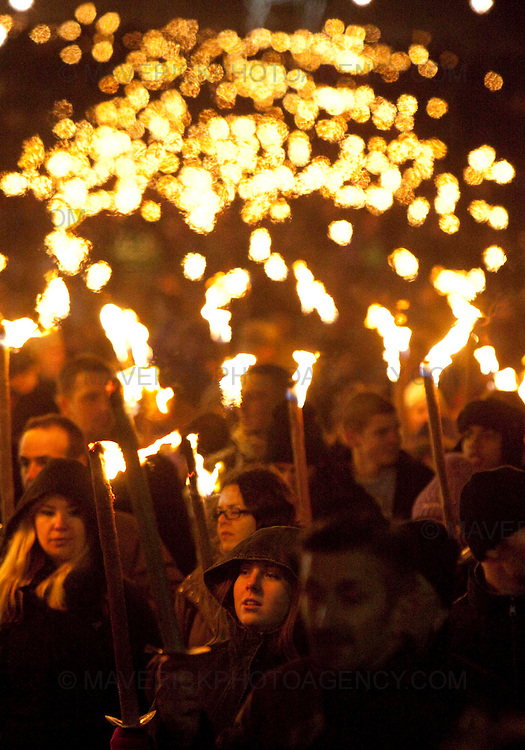 EDINBURGH, UK - 29th December 2009:  Edinburgh's traditional New Year celebrations began today as thousands of torch bearers joined a Torchlight Procession creating a spectacular river of fire through the city.  (Photograph: Michael Hughes/MAVERICK)......