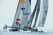 JP Morgan BAR rounding the top mark.  Day four of the Extreme Sailing Series Regatta at Nice. 5/10/2014
