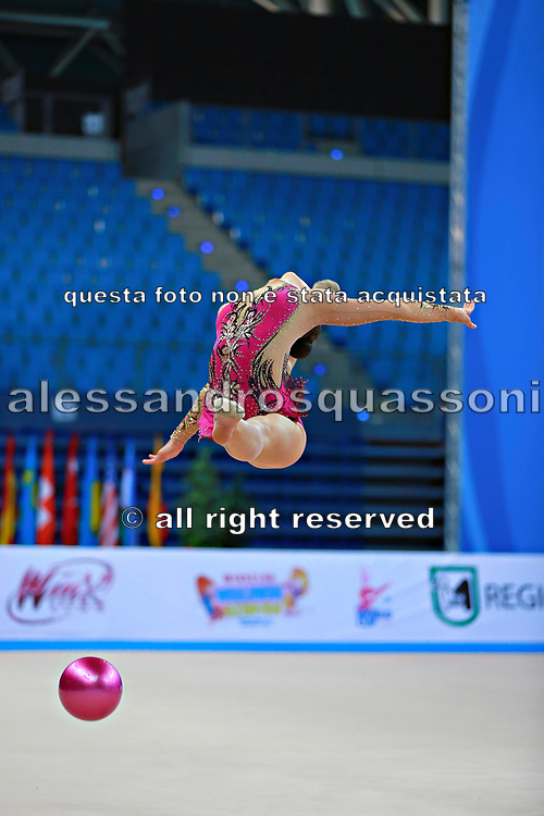 Bogdanova Olga during qualifying at ball in Pesaro World Cup 10 April 2015.<br />