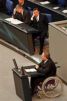 """19.04.1999, Deutschland/Berlin:<br /> Joschka Fischer, B90/Grüne, Bundesaußenminister, und Gerhard Schröder, SPD, Bundeskanzler, lauschen der Rede von Wolfgang Schäuble zur Debatte """"Vollendung der Deutschen Einheit"""", Eröffnungssitzung des Deutschen Bundestages im Reichstag, Berlin<br /> IMAGE: 19990419-01/06-16<br /> KEYWORDS: Gerhard Schroeder, Wolfgang Schaeuble"""