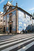 Porto, Portugal. Santa Catarina Chapel, aka Almas Chapel decorated with Azulejos, the typical Portuguese Blue Tiles