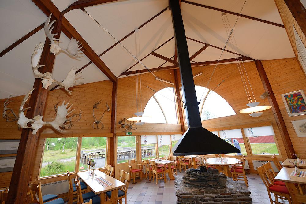 Restaurant Skaidi in Nikkaluokta Sarri Lodge, run by Saami ecotourism entrepreneur Anna Sarri, Nikkaluokta, Greater Laponia rewilding area, Lapland, Norrbotten, Sweden