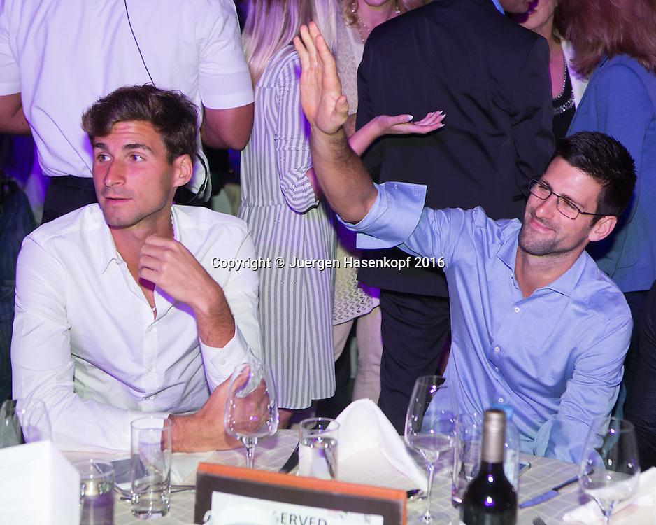 Dubai ATP Players Party, Novak Djokovic und Brueder Marko Đoković,und Djordje Djokovic<br /> <br /> Tennis - Dubai Duty Free Tennis Championships - ATP -   - Dubai -  - United Arab Emirates  - 23 February 2016. <br /> &copy; Juergen Hasenkopf