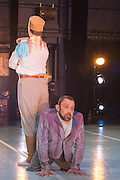 © Tony Nandi. 03/05/2014. Made up of disabled and non-disabled dancers, Stopgap Dance Company performs the London premiere of its latest work Artificial Things, following a critically acclaimed UK and European tour. Lillian Baylis Studio, Sadler's Wells Theatre, London. Picture features Chris Pavia and David Toole.