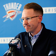 Oklahoma City Thunder general manager Sam Presti pauses as he answers a question when addresses the media regarding Kevin Durant's announcement that he will sign with the Golden State Warriors on Monday at the Integris Health Thunder Development Center in Oklahoma City, Monday, July 4, 2016. Photo by Kurt Steiss, The Oklahoman