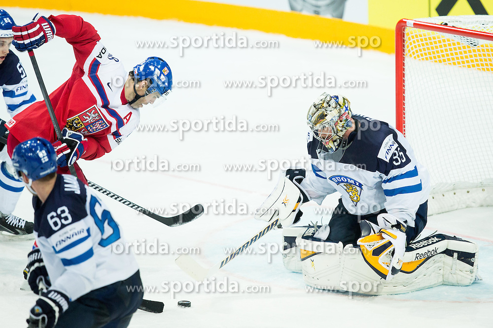 Jaromir Jagr of Czech Republic vs Pekka Rinne of Finland during Ice Hockey match between Finland and Czech Republic at Quarterfinals of 2015 IIHF World Championship, on May 14, 2015 in O2 Arena, Prague, Czech Republic. Photo by Vid Ponikvar / Sportida