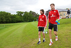 CARDIFF, WALES - Wednesday, June 1, 2016: Wales' Joe Allen and Ben Davies during a training session at the Vale Resort Hotel ahead of the International Friendly match against Sweden. (Pic by David Rawcliffe/Propaganda)