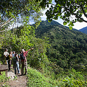 Hikers on trail in Cloudbridge Nature Reserve adjacent to Chirripo National Park, Costa Rica.