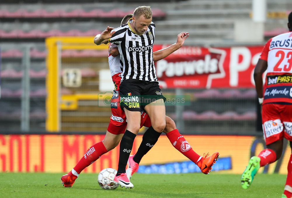 July 29, 2017 - Charleroi, BELGIUM - Charleroi's David Pollet fights for the ball during the Jupiler Pro League match between Sporting Charleroi and KV Kortrijk, in Charleroi, Saturday 29 July 2017, on the first day of the Jupiler Pro League, the Belgian soccer championship season 2017-2018. BELGA PHOTO VIRGINIE LEFOUR (Credit Image: © Virginie Lefour/Belga via ZUMA Press)