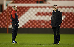 NOTTINGHAM, ENGLAND - Thursday, February 4, 2016: Liverpool's Under-18 manager Academy Director Alex Inglethorpe Neil Critchley on the pitch ahead of the FA Youth Cup 5th Round match against Nottingham Forest at the City Ground. (Pic by David Rawcliffe/Propaganda)