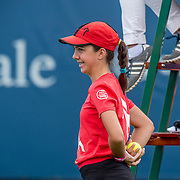 August 21, 2016, New Haven, Connecticut: <br /> A ball girl reacts during Day 3 of the 2016 Connecticut Open at the Yale University Tennis Center on Sunday, August  21, 2016 in New Haven, Connecticut. <br /> (Photo by Billie Weiss/Connecticut Open)