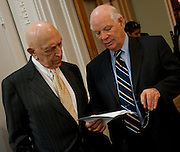 May 27, 2010 - Washington, District of Columbia, U.S., - Senators Frank Lautenberg and Ben Cardin prepare for a press conference to discuss President Obama's news that he has halted all deep-water oil drilling operations in the Gulf for the next six months or until a presidential commission co-chaired by former Florida U.S. Sen. Bob Graham completes its work.(Credit Image: © Pete Marovich/ZUMA Press)