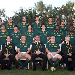 DURBAN, SOUTH AFRICA - JUNE 07: Francois Louw Arno Botha Pierre Spies Flip van der Merwe Eben Etzebeth Juandre Kruger JJ Engelbrecht Jannie du Plessis Coenie Oosthuizen Middle Willie le Roux Trevor Nyakane Bjorn Basson Morne Steyn Jan Serfontein Marcell Coetzee Tendai Mtawarira Chiliboy Ralepelle Pat Lambie Jano Vermaak Front Ricardo Loubscher Bryan Habana  Johann van Graan Jean de Villiers Cap Springbok coach Heyneke Meyer Adriaan Strauss Ian Schwartz Team Manager Ruan Pienaar and John McFarland during the Springboks team photo and press conference at Beverly Hills Hotel on June 07, 2013 in Durban, South Africa. (Photo by Steve Haag/Gallo Images)