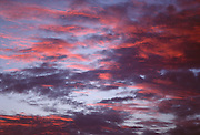 An evening sky full of red and purple clouds.
