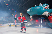KELOWNA, CANADA - SEPTEMBER 21:  Zach Franko #9 of the Kelowna Rockets enters the ice during the regular season home opener against the Kamloops Blazers at the Kelowna Rockets on September 21, 2013 at Prospera Place in Kelowna, British Columbia, Canada (Photo by Marissa Baecker/Shoot the Breeze) *** Local Caption ***