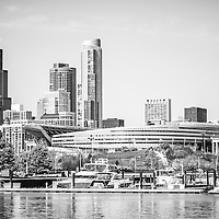 Black and white picture of Chicago skyline. Photo includes Soldier Field, Willis Tower (formerly Sears Tower) and boats in Burnham Harbor. Picture is high resolution and was taken 2011.