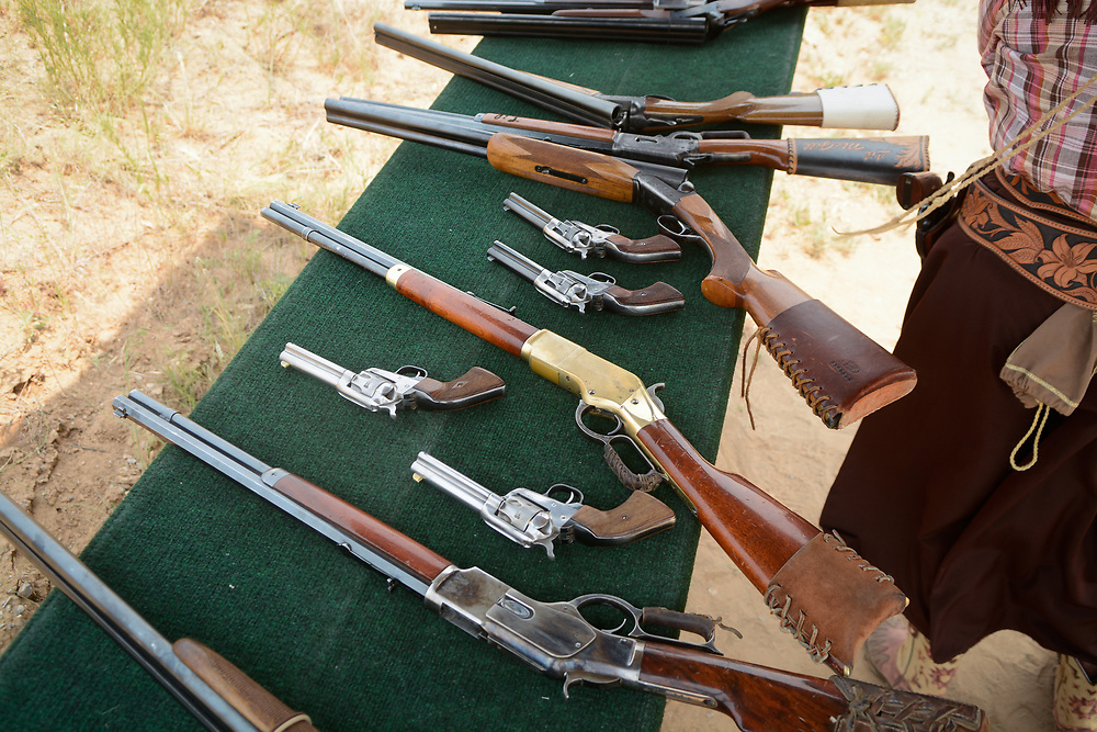 mkb062417h/metro/Marla Brose --  About 600 shooters, all dressed in Old West-era attire, brought their pistols, rifles and shotguns to compete in the 36th annual World Championship of Cowboy Action Shooting, Saturday, June 23, 2017, at Founders Ranch in Edgewood,  N.M. The public was welcome to watch on Friday and Saturday. The event ends on Sunday, a day which is closed to the public. (Marla Brose/Albuquerque Journal)