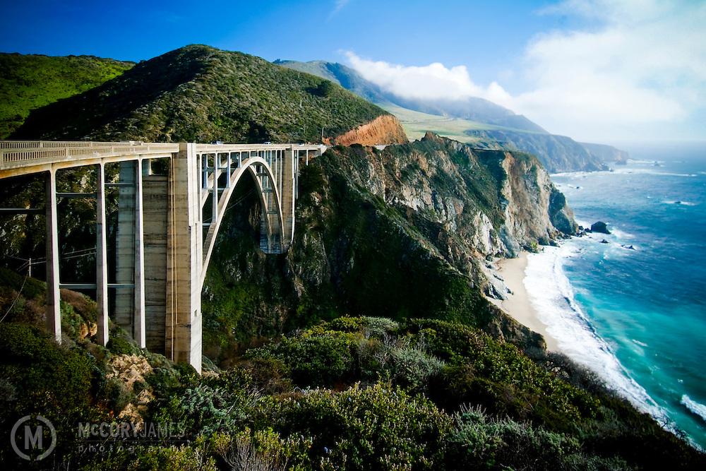 The Big Sur coast of California, the Bixby Bridge and the Pacific Ocean