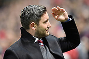 Bristol City manager Lee Johnson salutes to the crowd during the EFL Sky Bet Championship match between Bristol City and Burton Albion at Ashton Gate, Bristol, England on 13 October 2017. Photo by Richard Holmes.