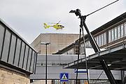 Nederland, Nijmegen, 1-5-2012Traumahelikopter landt op het helidek op het UMC-Radboud. Spoedgeval. EHBO. Gezondheidszorg. Foto: Flip Franssen