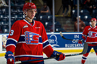 KELOWNA, BC - MARCH 13: Matt Leduc #3 of the Spokane Chiefs stands on the ice during warm up against the Kelowna Rockets at Prospera Place on March 13, 2019 in Kelowna, Canada. (Photo by Marissa Baecker/Getty Images)