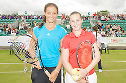 LIVERPOOL, ENGLAND - Thursday, June 18, 2009: Laura Robson (GBR) and Chloe Murphy (GBR) during Day Two of the Tradition ICAP Liverpool International Tennis Tournament 2009 at Calderstones Park. (Pic by David Rawcliffe/Propaganda)