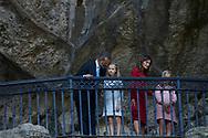 King Felipe VI of Spain, Queen Letizia of Spain, Crown Princess Leonor, Princess Sofia attends the Centenary of the Catholic Coronation of the Virgin of Covadonga at Santa Cueva de Covadonga on September 8, 2018 in Cangas de Onis , Spain