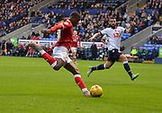 Bristol city forward, Kieran Agard unleashes a powerdrive shot during the Sky Bet Championship match between Bolton Wanderers and Bristol City at the Macron Stadium, Bolton, England on 7 November 2015. Photo by Mark Pollitt.