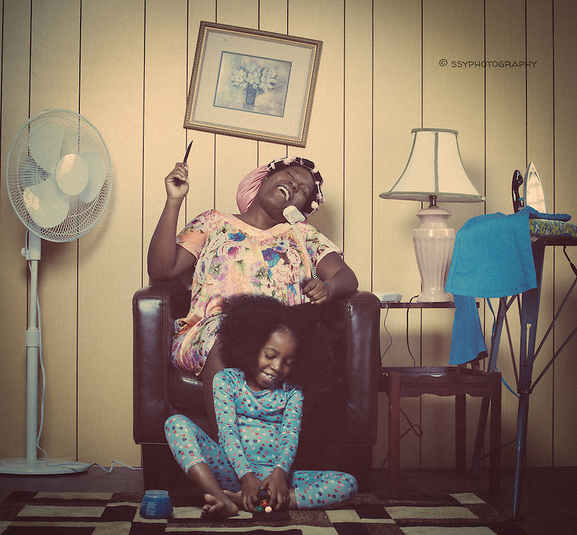 Vintage Hair shoot. Mother and daughter.