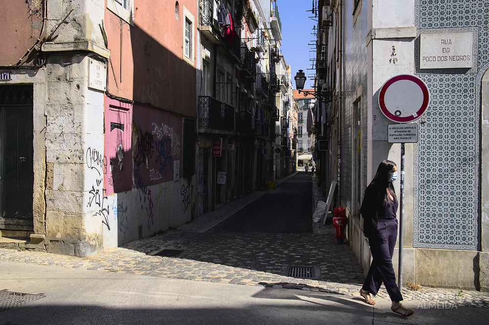 Street life in the old Bica quarter in Lisbon.