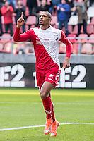 UTRECHT - FC Utrecht - Feyenoord , Voetbal , Seizoen 2015/2016 , Eredivisie , Stadion de Galgenwaard  , 28-02-2016, FC Utrecht speler Sébastien Haller viert zijn goal voor de 1-0