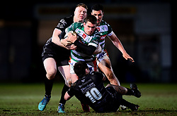Guinness PRO14, Rodney Parade, Newport, UK 06/03/2020<br /> Dragons vs Benetton Rugby<br /> Ian Keatley of Benetton Rugby is challenged by Jack Dixon of Dragons and Jacob Botica of Dragons<br /> Mandatory Credit ©INPHO/Ryan Hiscott